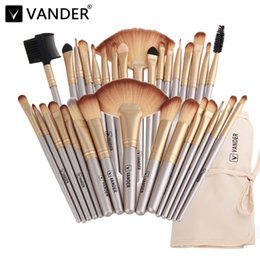 makeup black hair Coupons - Vander Professional Soft Champagne 32pcs Makeup Brushes Set Beauty Cosmetic Real Make Up Tools Eyeshadow Blush Blending W  Bag