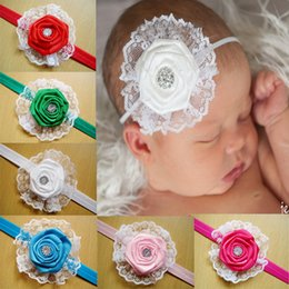 Wholesale Mix Colour Hair - Infant Baby Hair Accessories Rose Flower Combination Girls Hair Band Kids Headband Babies Toddler Head Band Mix Colour