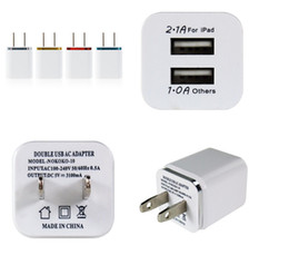 Wholesale Ipad Notes - Meatl Dual USB Wall charger US Plug 2.1A Power Adapter Wall Charger Plug 2 port For samsung galaxy note LG tablet ipad Etc