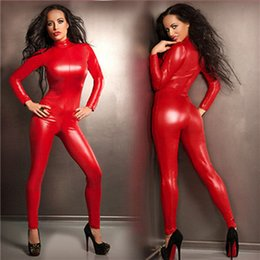 Wholesale Leather Jumpsuits For Women - 2016 Fresh Sexy Red Latex Catsuit Faux Leather Jumpsuit Bodycon Stretchy Jumpsuit Clubwear Leotard Fantasia Latex Costumes For Women