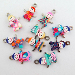 Wholesale Tiny Silver Beads - Vintage Charms Mixed Polymer Fimo Clay Tiny Girl Boy Pendants For Bracelet Necklace Jewelry Making DIY Accessories 100pcs Z720