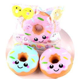 Wholesale Elastic Phone Strap - 1PC Kawaii Soft Squishy Donuts Smiling Face Doughnut Phone Strap Super Slow Rising Elastic Bread Gift Stress Relief Kids Toy