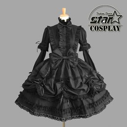 Wholesale Gothic Lolita Dresses - Wholesale-Cinderella Princess Cotton Dress Halloween Victorian Gothic Lolita Dress Girl Cosplay Lolita Costume Women Layered Maid Dress
