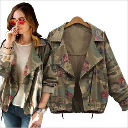 Wholesale Camouflaged Army Jeans - Autumn Winter army green camouflage Women Jackets Fashion Floral Printed Zipper Jeans Coats for Woman Denim Cardigans hight qualityfree ship