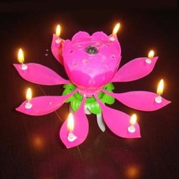 Wholesale Wholesale Decorative Flower Candles - Romantic Flower Music Candle LED Lotus Petal Candle Lamp Birthday Party Cake Decoration for Sale SD484
