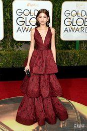 Wholesale Globe Prom - 2016 Golden Globe Award Zendaya Coleman Burgundy Evening Gown V Neck Lace Wear Celebrity Red Carpet Classic Prom Dresses