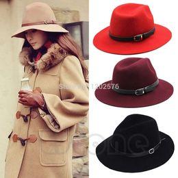 Wholesale Cowboys Belts Men - Wholesale-A96 Free Shipping Retro Women Wool Belt Fedora Trilby Cap Winter Warm Wide Brim Buckle Cowboy Hat
