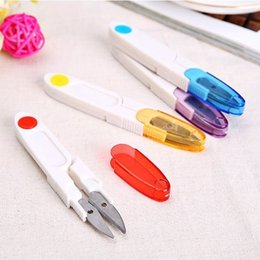 Wholesale Thread Clippers Sewing - Plastic Handle & Safety Cover Sewing Scissors Clothes Thread Embroidery Cross-stitch Craft Clipper Cutter Tailor Nippers D255Q
