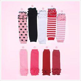 Wholesale Girls Striped Leggings - Baby solid color striped polka dot ruffle leg warmers kids girl birthday gifts leggings child Socks 9colors keep leg arm warm