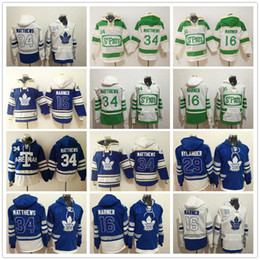 Wholesale Hockey Hooded Sweatshirts - 2017 Centennial Classic Hoodies 34 Auston Matthews 16 Mitch Marner William Nylander Blue 100th Toronto Maple Leafs Hooded Jersey Sweatshirts
