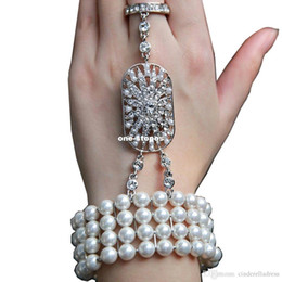 Wholesale Body Chain Pearl Jewelry - Cheap Real Image Hot New wedding jewelry The Great Gatsby Bridal Bridesmaid Hand Bracelet Crystal pearl Bracelet Set Bridal Jewelry CPA238