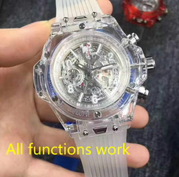 Wholesale Chronograph Rubber - 2017 New Luxury famous brand men's watch transparent chronograph Sports Military Watches Clock Quartz Men Watches Relogio Masculino