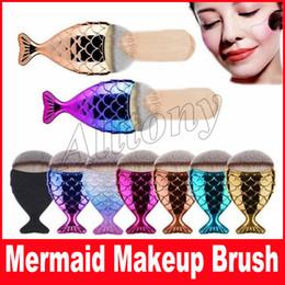 Wholesale Fishing Multi Tool - New Desgin Fashion Hot Colorful Mermaid Fish Tail Shape Powder Blush Foundation Oval Makeup Brushes Make Up Tools