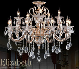 Wholesale Modern Tier Chandelier - Newly Modern Luxurious Large Crystal Chandelier Lamp   Light   Lighting Fixture 2 tiers with12+6 arms Free Shipping