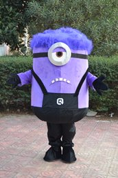 Wholesale Minions Halloween Costume - 2016 new style Christmas fancy dress purple Minions Mascot Costumes halloween easter Performance Animal adults costumes for guys