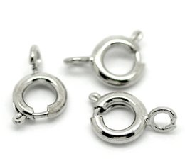 Wholesale Bolt Rings Clasp - Hot Sale ! 200PCs Silver Tone Bolt Spring Ring Necklace End Clasps Findings 10mmx6mm
