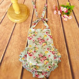 Wholesale infants rompers - Baby Romper Flower Printed Floral Ruffled Backless Romper Girl Rompers Infant Sleeveless Girls Clothes Baby's JumpSuit Jumper