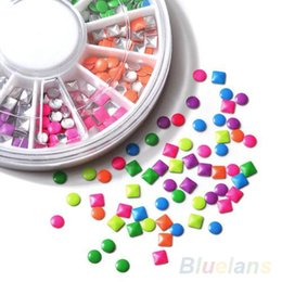 Wholesale Molds For Nail Art - 6 Colors Stud Nail Art 3D DIY Design Decoration Stickers Drill Box Metallic Studs Fluorescent Rivet for Manicure Five-pointed Star 100sets
