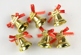 Wholesale Bell Stand - Christmas tree Decorative Iron art bells beautiful gold color Christmas decorations DIY Party high quality Party Supplie 9pcs bag wholesale
