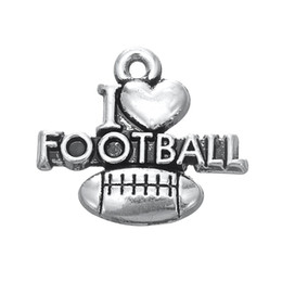 wholesale fashion football bracelet Promo Codes - Free shipping New Fashion Easy to diy 30pcs i love football hot selling sports charm jewelry making fit for necklace or bracelet