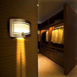 Wholesale Led Battery Motion - 10 LED Motion Sensor Wireless Wall Light Operated Activated Battery Operated Sconce Wall Light