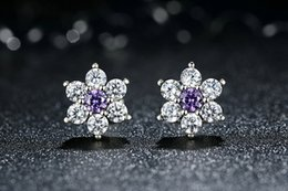 Wholesale Gem Studded - In 2017 the new 925 pure silver ear studs are studded with purple gem modeling luxury and noble charm That Has Grade Earrings