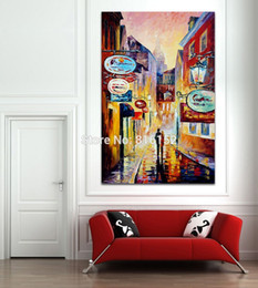 Wholesale painting memory - Modern Palette Knife Oil Picture The Old Street in Memory Architecture Painting Printed on Canvas for Living Room Bedroom Decoration