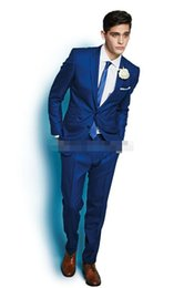 Wholesale Italy Customs - custom-made Fashion Trend Newest Style Italy Royal Blue Men's Suit One Button Groom Suits Tuxedo (Jacket+Pants+Tie)