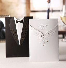 Wholesale Dresses Wedding Invitations - Wedding invitation card Black and white dress Korean style wedding invitations supplies three folding page 100pieces  lot