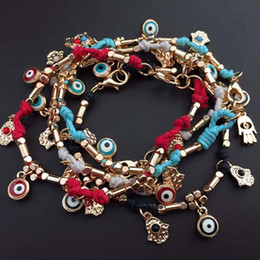 Wholesale Evil Eye Gold Bracelet Plated - Evil eye charm bracelet handmade braided Turkey blue eye hamsa charm bracelets handmade jewelry zinc allloy waxed strings rope