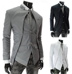 Wholesale Slim Suit Small Men - Free shipping Hot selling Autumn slim fit blazer fashion jackets brand Korea asymmetrical design sportsman small suit XX309F