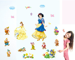 Wholesale Large Snow White Wall Sticker - Wholesale 5pcs lot New Snow white and the Seven Dwarfs wall stickers for girls rooms,DIY home decoration