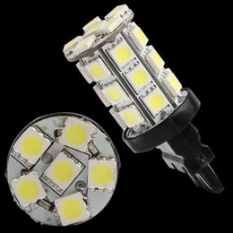 Wholesale Led Track Bulbs - Free Shipping 2 T20 3157 Pure White 5050 SMD 27 LED Tail Backup Turn Signal Light Bulb order<$18no track