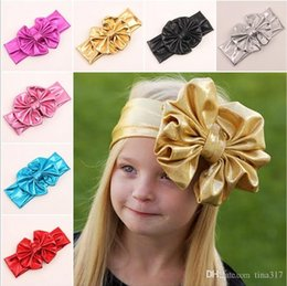 Wholesale Bow Lace Stamp - Children's big hot stamping metal color bow hair band Baby's hairbands Europe and the United States new Flower Headbands