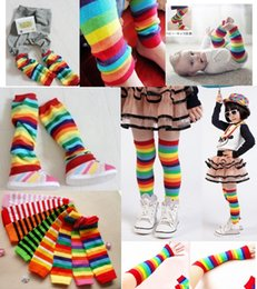 Wholesale Wholesale Rainbow Socks - Assorted Rainbow Stripes Leg Warmers for Baby and Toddler Colorful Baby Leggings knee socks Stripes baby leg warmers