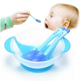 3 Pçs / set Pratos de Aprendizagem Do Bebê Com Ventosa Assist Tigela Temperatura Sensing Colher Garfo Talheres Pratos Platos Crianças Conjunto de Louça De Segurança de