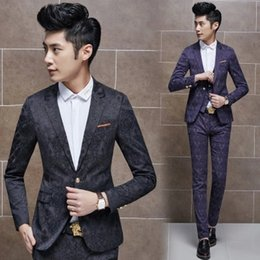 Wholesale Men Colored Blazer - Wholesale-2015 New Arrival Suits Mens Casual Blazers Floral Print Chaqueta Colored Blazers For Men Purple Stage Jackets