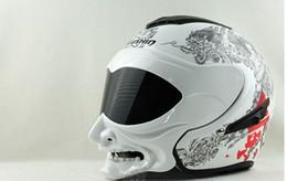 Wholesale Helmet Flip - Wholesale-Flip Up Helmet Full face helmet Grimace Helmet Samurai helmet Marushin C609 double lens grimace dirt bike free shipping