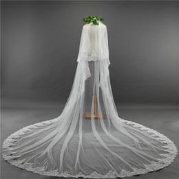 Wholesale Cathedral Mantilla - 3.5 Meter White Ivory Cathedral Wedding Veils Long Edge Bridal Veil with Comb Wedding Accessories Bride Mantilla Wedding Veil