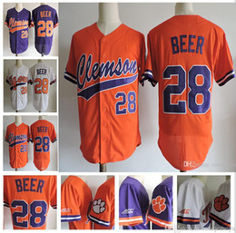 Wholesale Beer Jersey - Mens Clemson Tigers College Baseball #28 Seth Beer MVP Jersey cheap White Orange Purple Stitched Adult NCAA ACC On Field Game Jerseys S-3XL