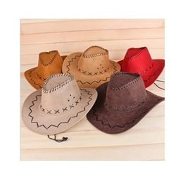 Wholesale Cowgirls Party - Western Cowboy Hat Suede Wild West For fancy Dress and Outdoor performance cowboy hat tour crafts Cowgirl Unisex Hats