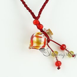 Wholesale Italian Rope Chain - empty small glass vial necklace pendants vintage perfume bottle pendant necklace wholesale supplier Italian murano glass swirled jewelry