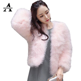 Wholesale Turkey Feather Coats - Natural 100% Ostrich Fur Coat Short Sexy Feather Jacket New Imported Turkey Fur Warm Long Sleeve Thick Wool Jacket 13 Color