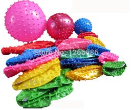 Wholesale Inflate Balls - 200pcs lot 16cm Inflated Dia PVC Spiky Relaxing Massage Ball Toy
