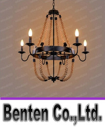 Wholesale Rope Chandeliers - American rural countryside twine vintage wrought iron chandelier dining room bar. Creative hemp rope black   rust color lamp e14 LLFA4762F