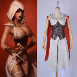 Wholesale Assassins Creed Women Costume - Game Assassin's Creed Halloween Clothing Dress for Women Female Assassin Cosplay Costume Party Dress