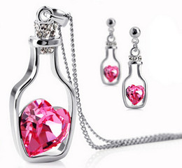 Wholesale Elements Crystal Heart Pendant - Fashion 925 Silver Necklaces Swarovski Elements Austrian Crystal plating platinum necklace pendant Love Heart Wishing Bottle necklaces