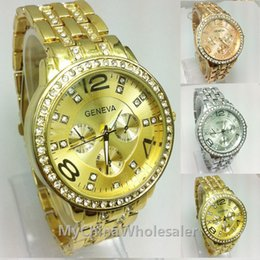 Fecha del reloj del rhinestone online-Ginebra acero inoxidable reloj de metal relojes de pulsera para las mujeres de moda de lujo cristalino del oro del cuarzo Rhinestone Fecha Señora Mujeres reloj de pulsera
