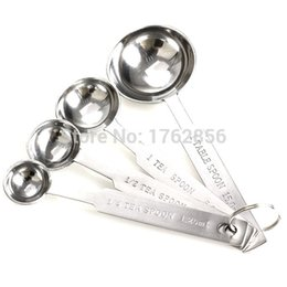 Wholesale Tea Baking Cups - 4pcs Stainless Measuring Spoons Tea Coffee Cooking Baking Measure Scoop Cup A2