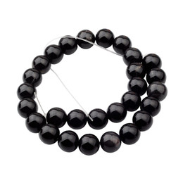 gemstone crosses wholesale Coupons - Natural Gemstone Black Onyx Agate 14mm Round Beads for DIY Making Charm Jewelry Necklace Bracelet loose 28PCS Stone Beads For Wholesales